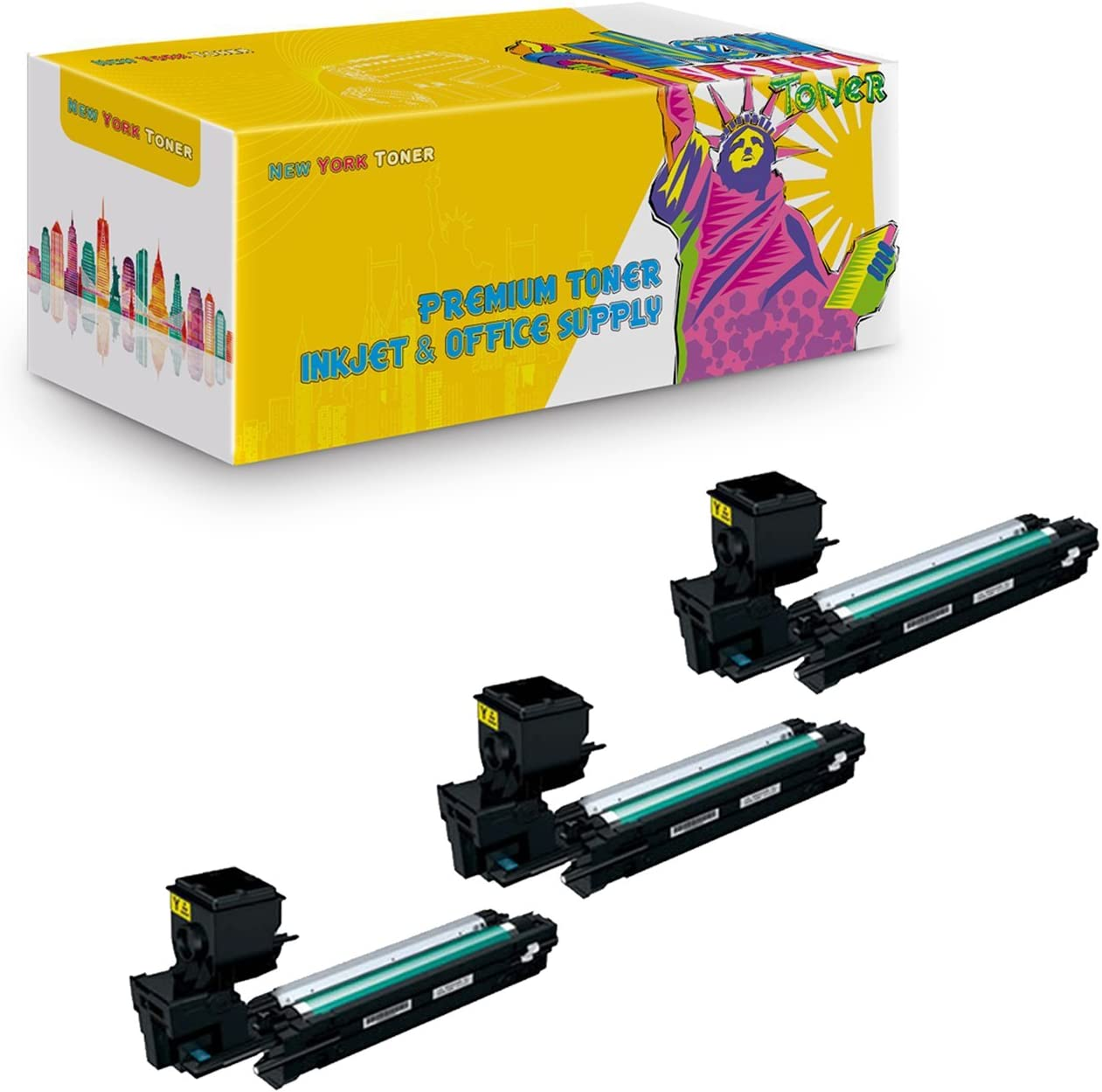 NYT Compatible High Yield Toner Cartridge Replacement for A0WG07F for Konica-Minolta Magicolor 3730DN Yellow, 3-Pack