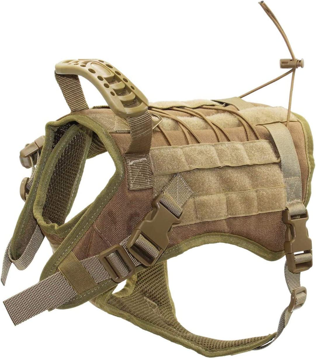 Image of the EJG Tactical Dog Harness Vest with Collapsible Bowl Spoon Patch, Handle for Walking, Molle System & DIY Velcro Area.