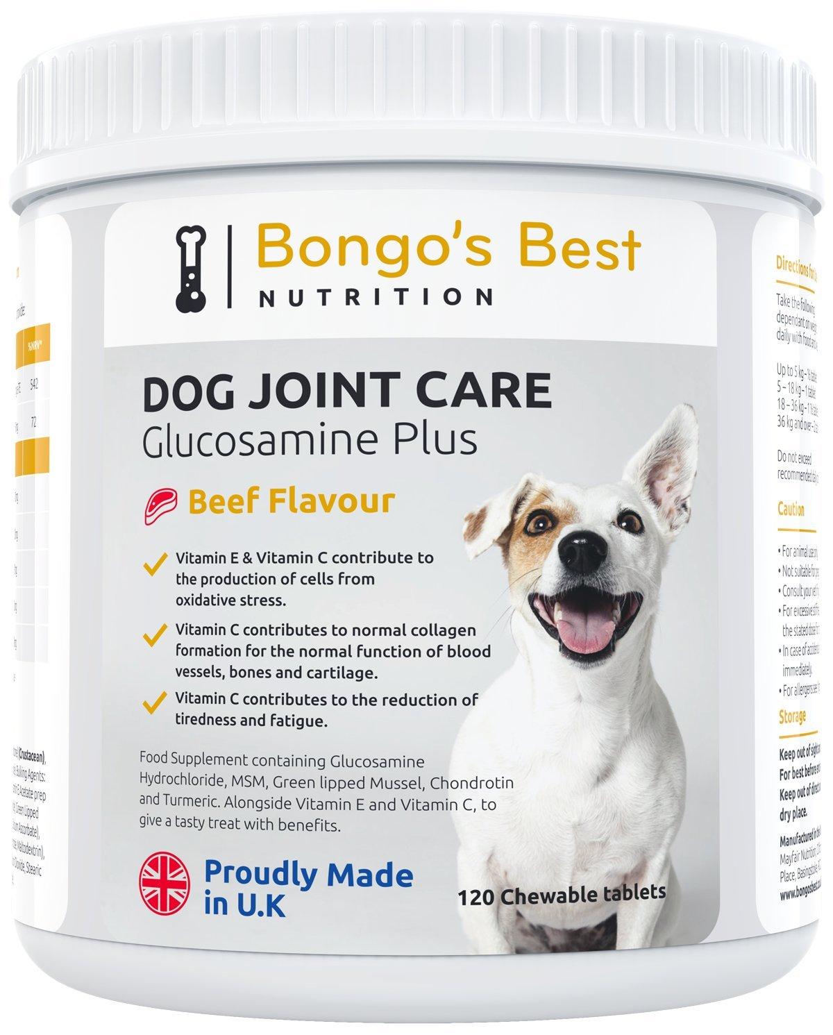 Cuidado de las articulaciones de perros de Bongos Best - Suplemento de glucosamina y mejillón de labio verde de máxima calidad para perros de todo tamaño y ...