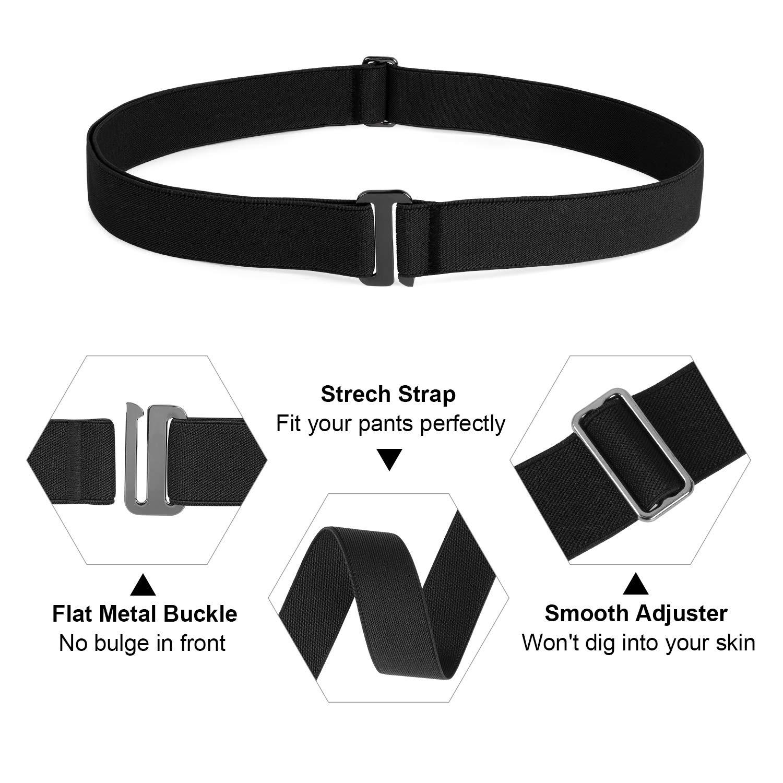 Flat Buckle No Show Elastic Belt,Comfortable Invisible Belt,Black,Suit USA Size 0-16
