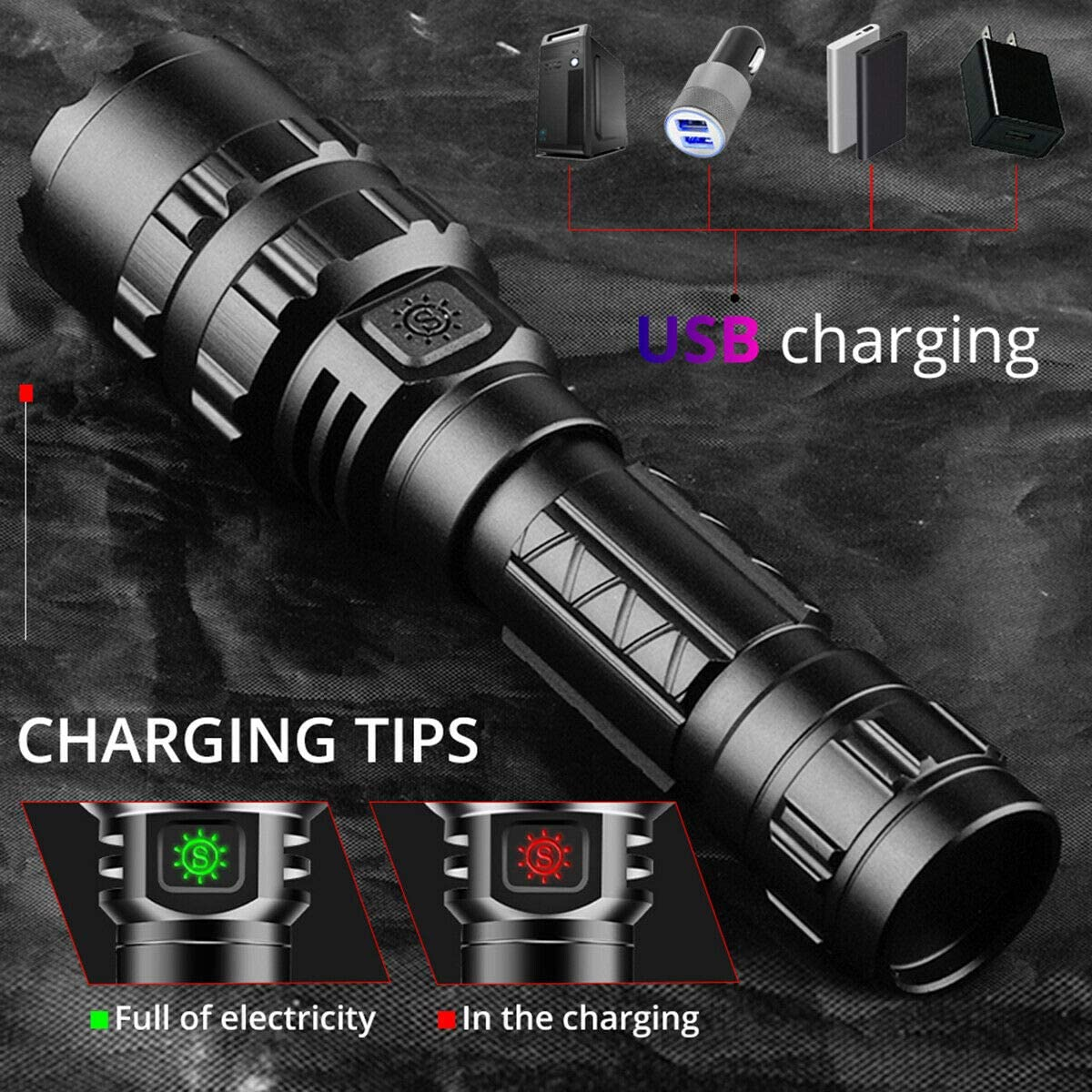 18650 Battery and Charger Included L2 Brightest LED Flashlights Rechargeable 2 Pack 3000 High Lumens Waterproof Flashlight with 5 Light Modes for Working Camping Hiking