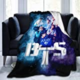 BTS ARMY BTS Fan Art Ultra Soft Light Weight Warm Flannel Throws Blankets Couch Sofa Fuzzy Blanket For Traveling Camping Home