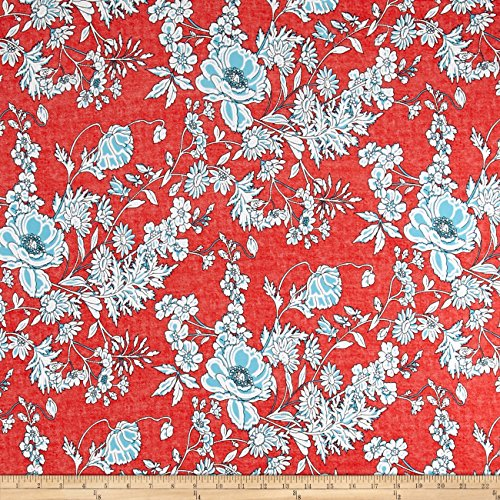 TELIO Venice Stretch ITY Knit Floral Print Coral Fabric by The Yard