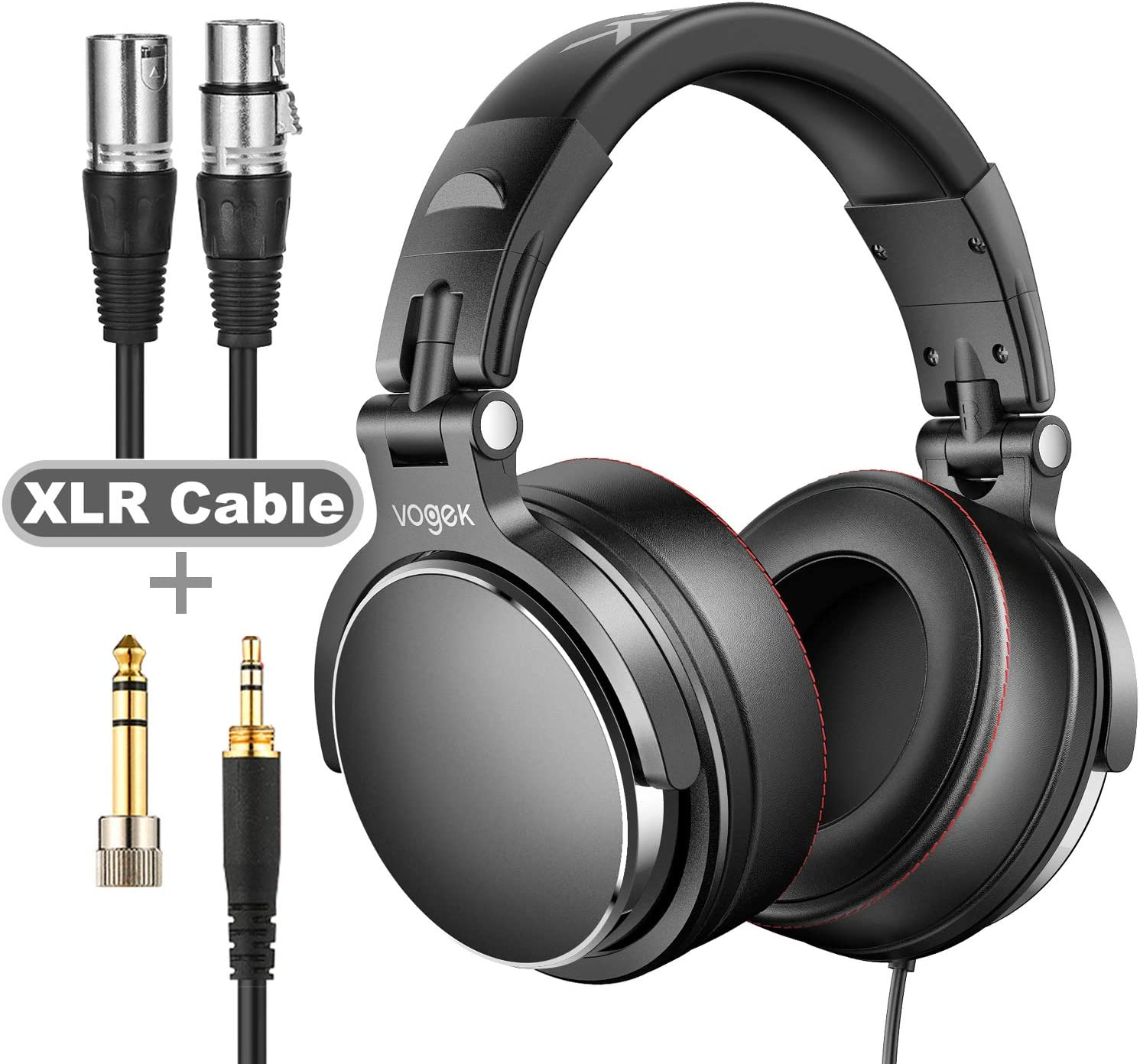 Studio Headphones with 6.6ft XLR Cable, Vogek Prefessional DJ Headphones Mixing DJ Headset Protein Memory Foam Ear Pads, 50mm Neodymium Drivers Stereo Sound for Electric Drum Piano Guitar AMP