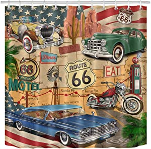 LB Antique Car Shower Curtain,Old Classic Car Theme American Vintage Route 66 Diner Motorcycle Shabby Chic Shower Curtain,Waterproof Fabric 60 x 72 Inches with 10 Hooks