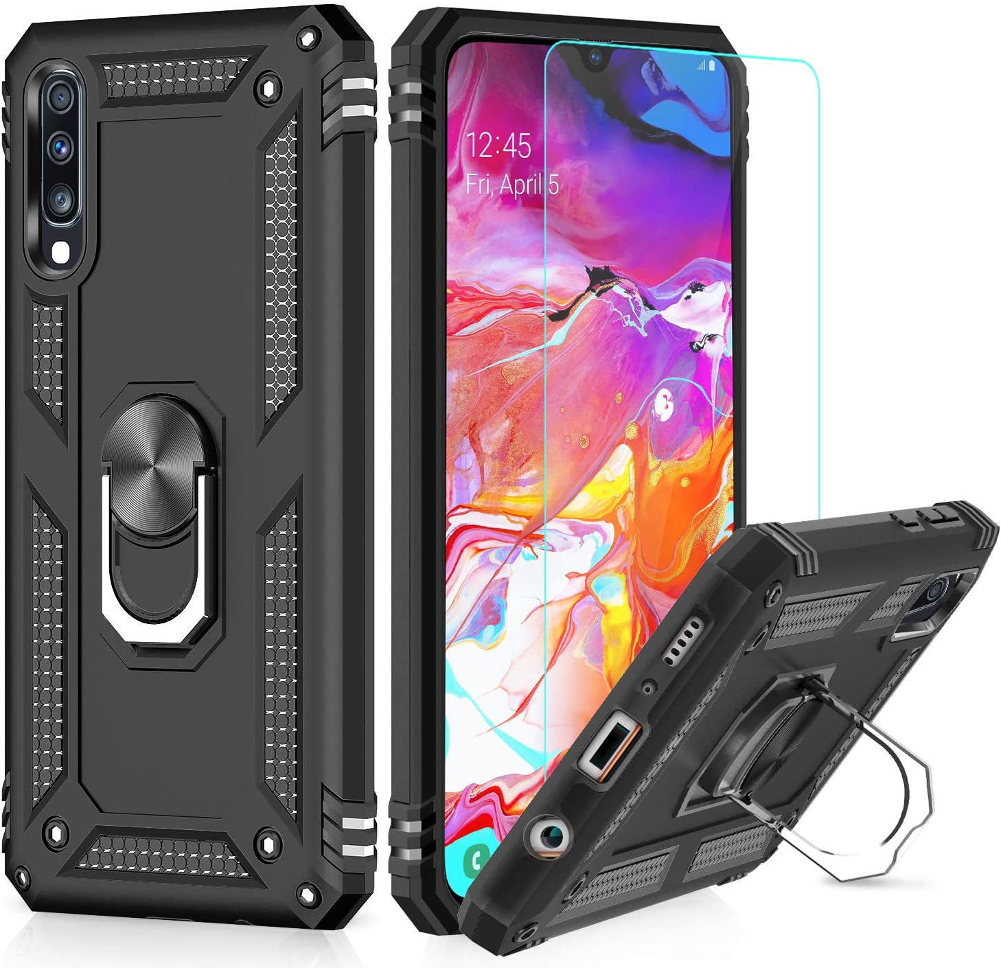 Amazon Com Leyi Samsung Galaxy A50 A50s A30s Case With Hd Screen Protector Military Grade Magnetic Car Ring Holder Mount Kickstand Defender Protective Cover Phone Case For Samsung A50 A50s A30s Black Electronics
