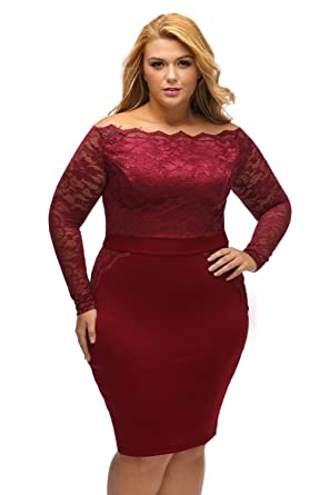 03f1214101978 XAKALAKA Plus Size Long Sleeve Off Shoulder Lace Cocktail Party Dress Size  2XL (Burgundy)