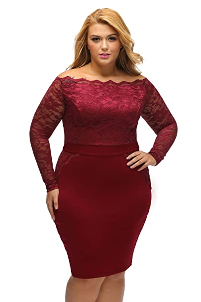 Amazon.com: Lalagen Women\'s Plus Size Off Shoulder Long ...