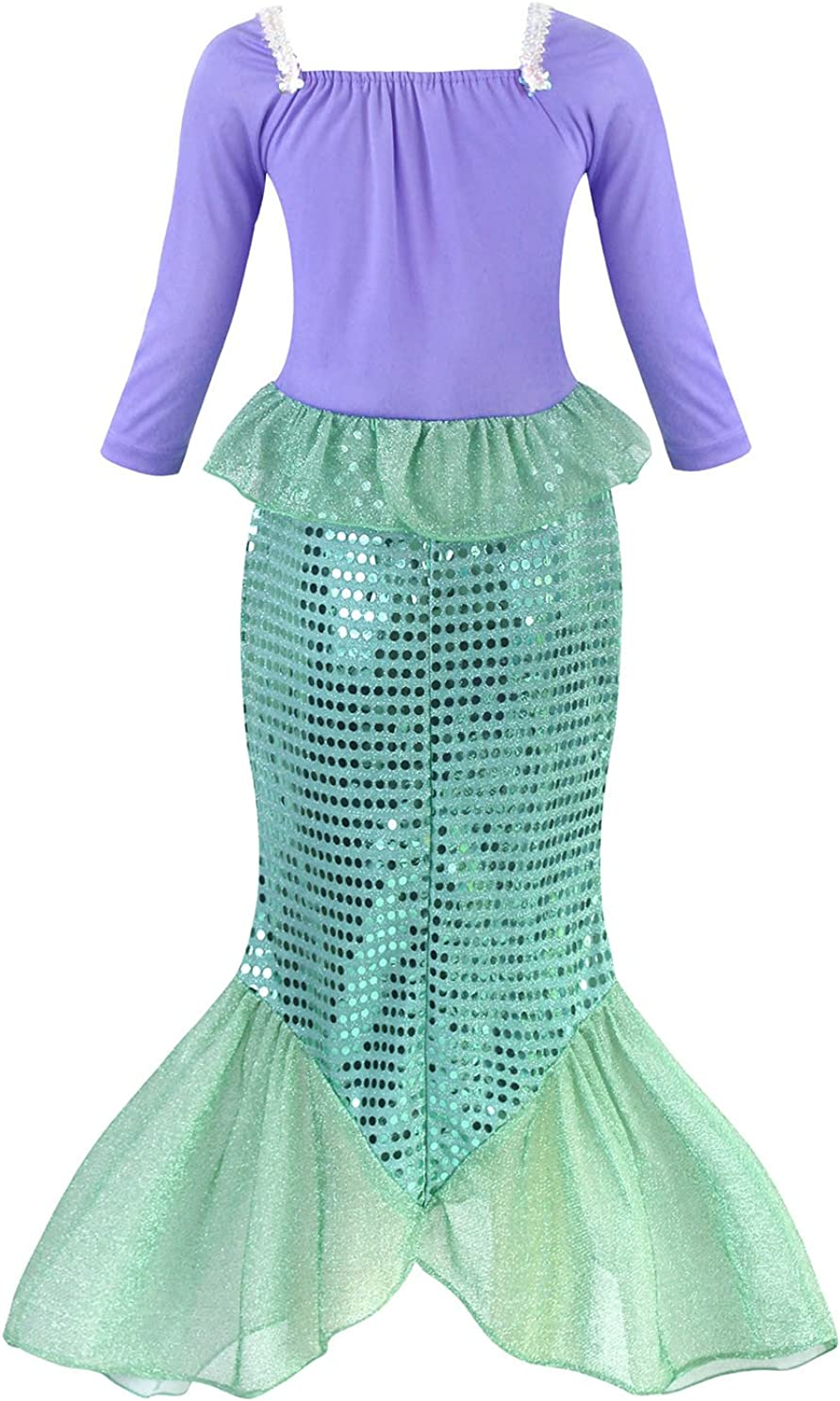 AmzBarley Mermaid Costume for Girls Princess Halloween Fancy Party Dress Up Mermaid Sequins Outfits