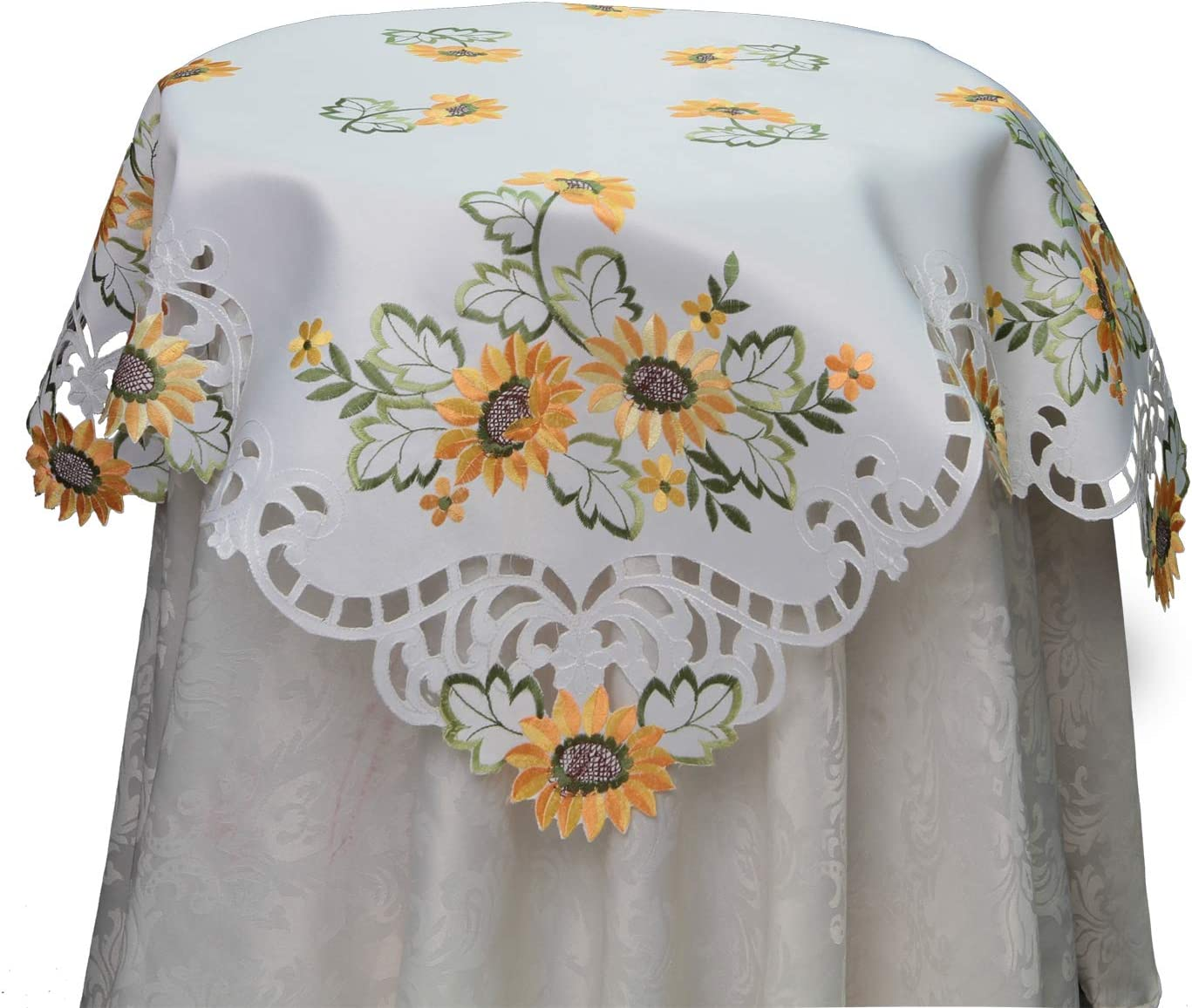 """16/""""x54/"""" Embroidered Table Runner Topper Tablecloth Spring Floral Daisy cutwork"""
