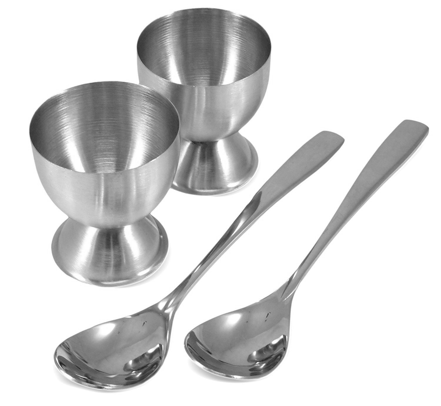 Stainless Steel Egg Cups with Egg Spoons (2 of Each Set) by Cornucopia Brands COMINHKPR95351