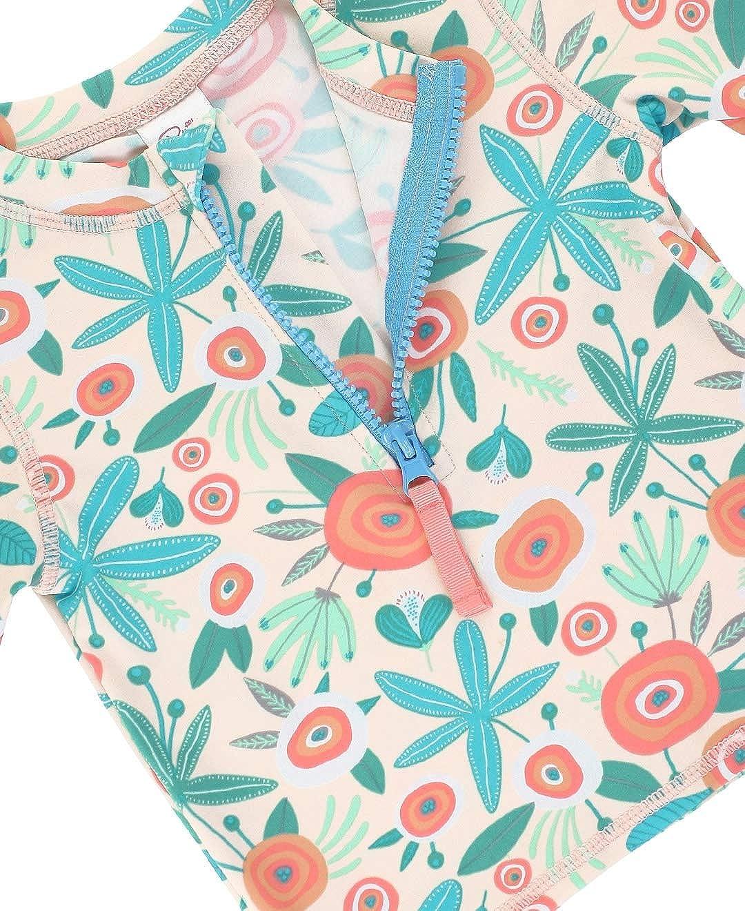 RuffleButts Baby//Toddler Girls Long Sleeve Rash Guard 2 Piece Swimsuit Set w//UPF 50 Sun Protection with Zipper