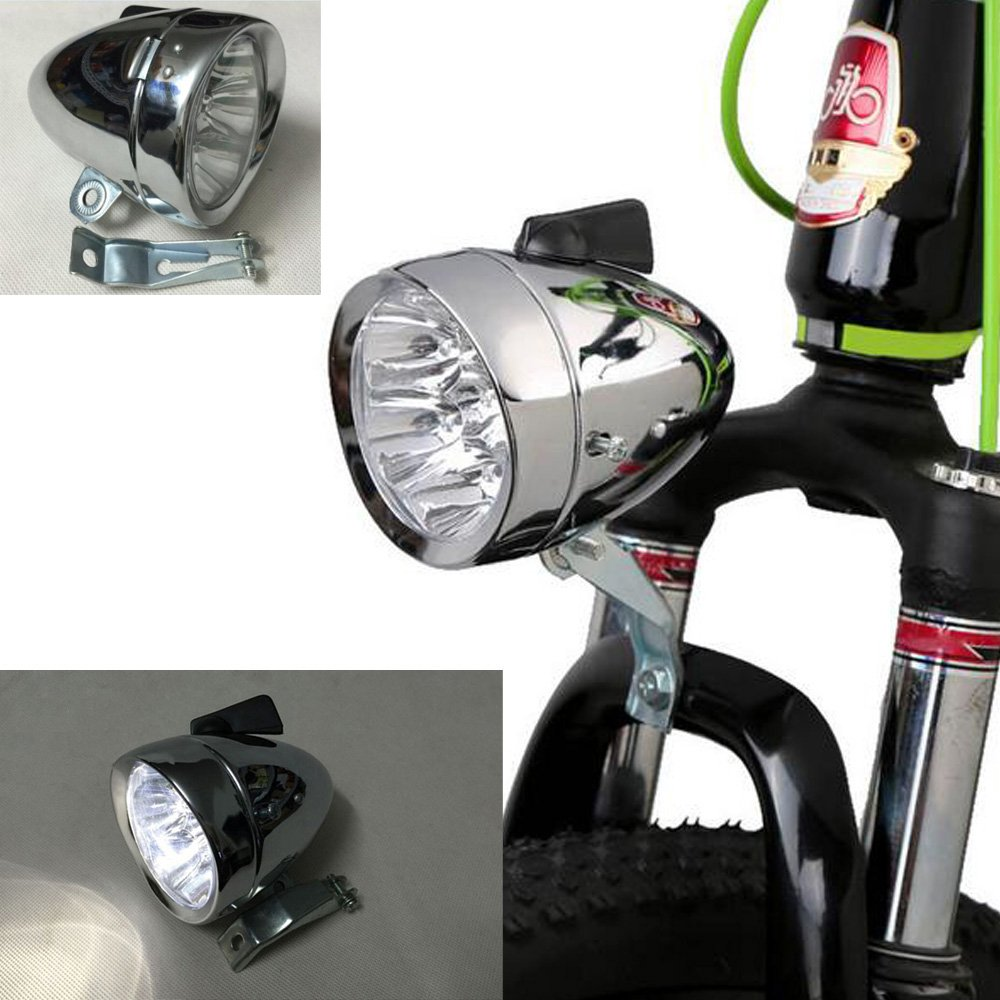 GOODKSSOP Bright 7 LED Front Light For Bicycle Headlight Retro Bike Head Lamp Chrome Silver Metal Shell Vintage Night Riding Safety Cycling Fog Light Headlamp