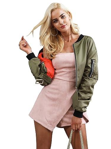 Simplee vestidos de saten de las mujeres chaqueta bomber chaqueta acolchada con cremallera corta cha...