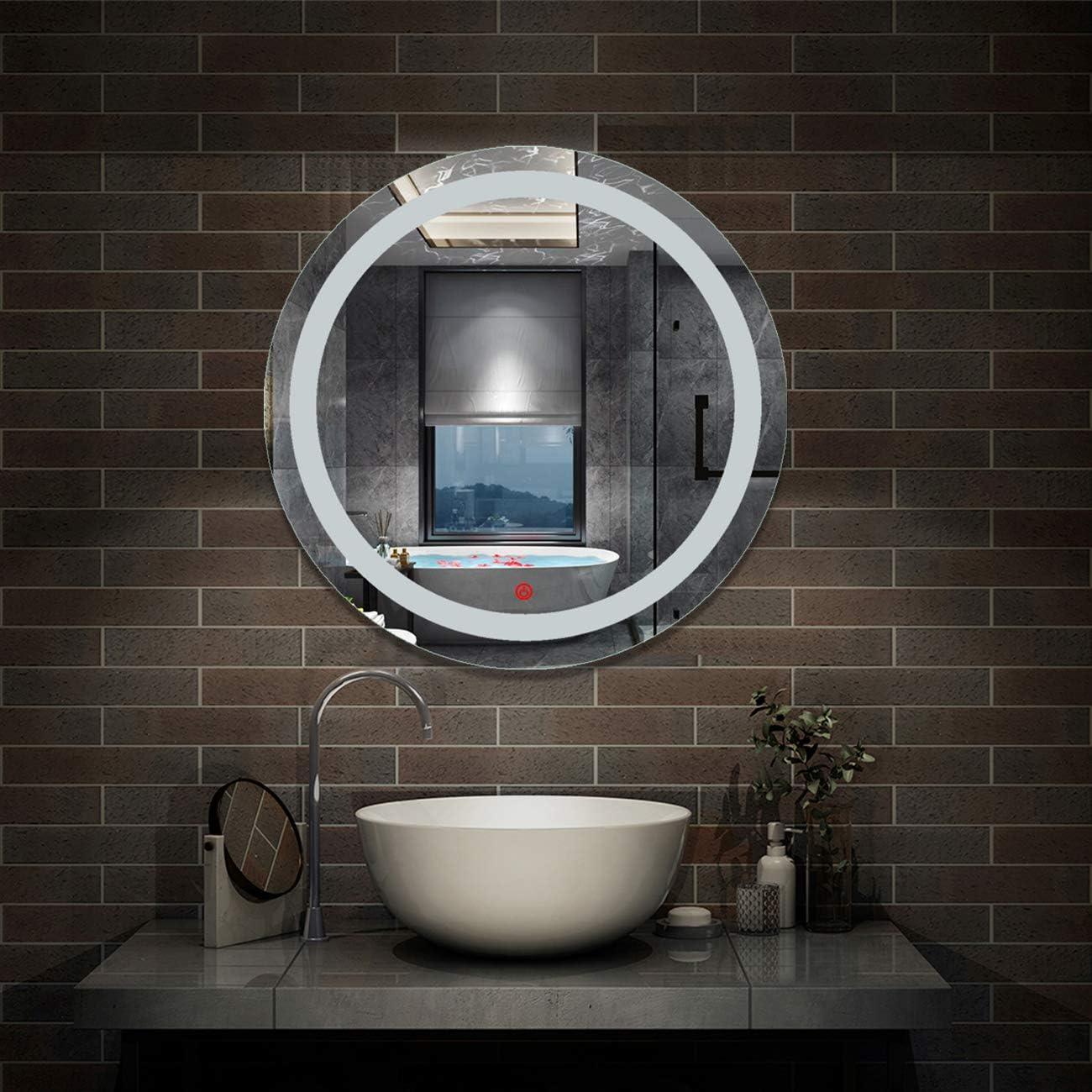 Aica Sanit/är LED Badspiegel rund 80 cm Touch Beschlagfrei Wandspiegel mit Beleuchtung Lichtspiegel Beta Serie