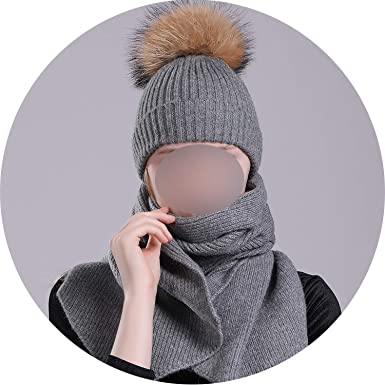 e643dbe4a41df Image Unavailable. Image not available for. Color  Winter Hats Scarf Sets  Braided Hat Scarves Fur Pompom Kid Warm Wool Knitted ...