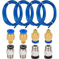 LUTER 4 pièces PTFE Tube Teflon Bleu (1.5 m) avec 4 pièces Raccord rapide PC4-M6 et 4 pièces Raccord droit pneumatique PC4-M10 pour Accessoire imprimante 3D Filament de 1,75 mm