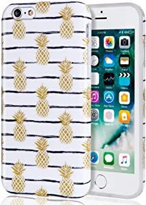iPhone 6 6s Case for Girls Gold Pineapple, Best Protective Cute Girls Women Clear White Slim Shockproof Glossy Soft Silicone Rubber TPU Cover Phone Case for iPhone 6 / iPhone 6s