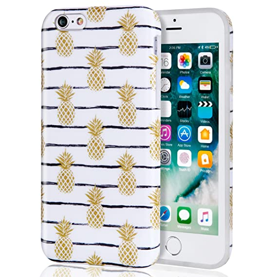 the best attitude 6aeec e41e3 iPhone 6 Plus Case for Girls Gold Pineapple, Best Protective Cute Women  Clear White Slim Shockproof Glossy Soft Silicone Rubber TPU Cover Phone  Case ...