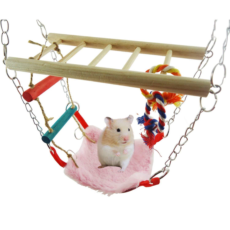Cute Hamster Squirrel Parrot Bird Hammock Wooden Pet Swing Swing Suspension Bridge Toy Hanging Soft Bed by Solardragon Chair Hammock