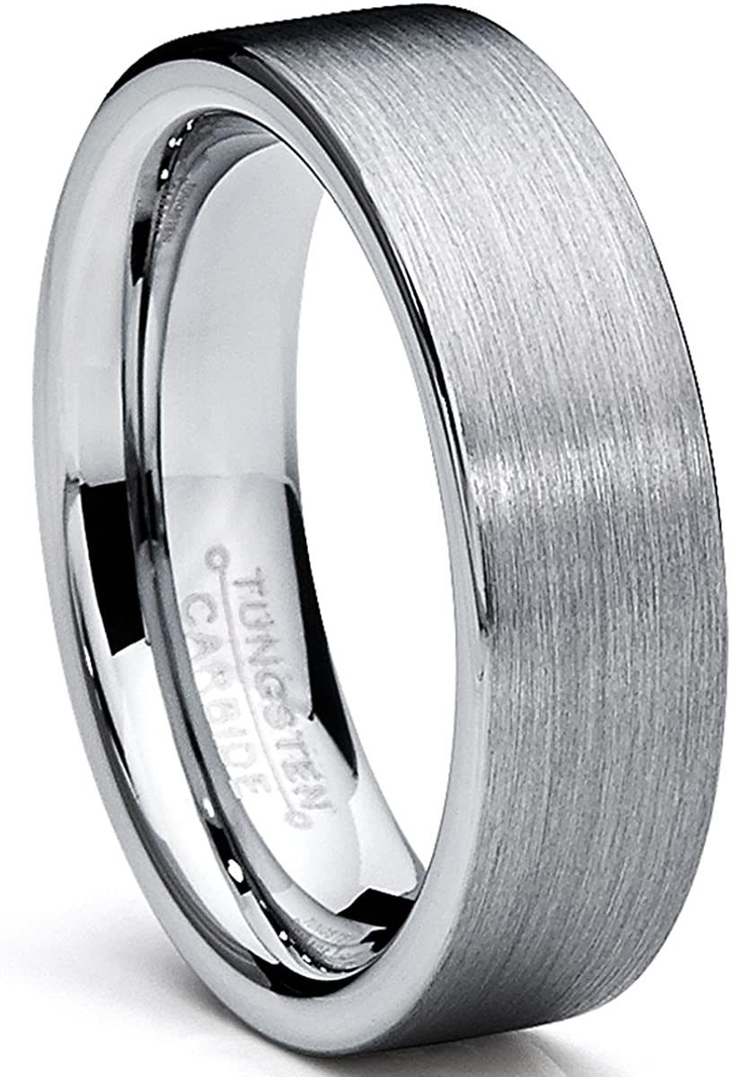 Metal Masters Co. Tungsten Carbide Men's Brushed Wedding Band Ring Comfort Fit 6MM Sizes 5 to 15