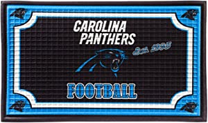 """Team Sports America Carolina Panthers NFL Embossed Outdoor-Safe Mat - 30"""" W x 18"""" H"""