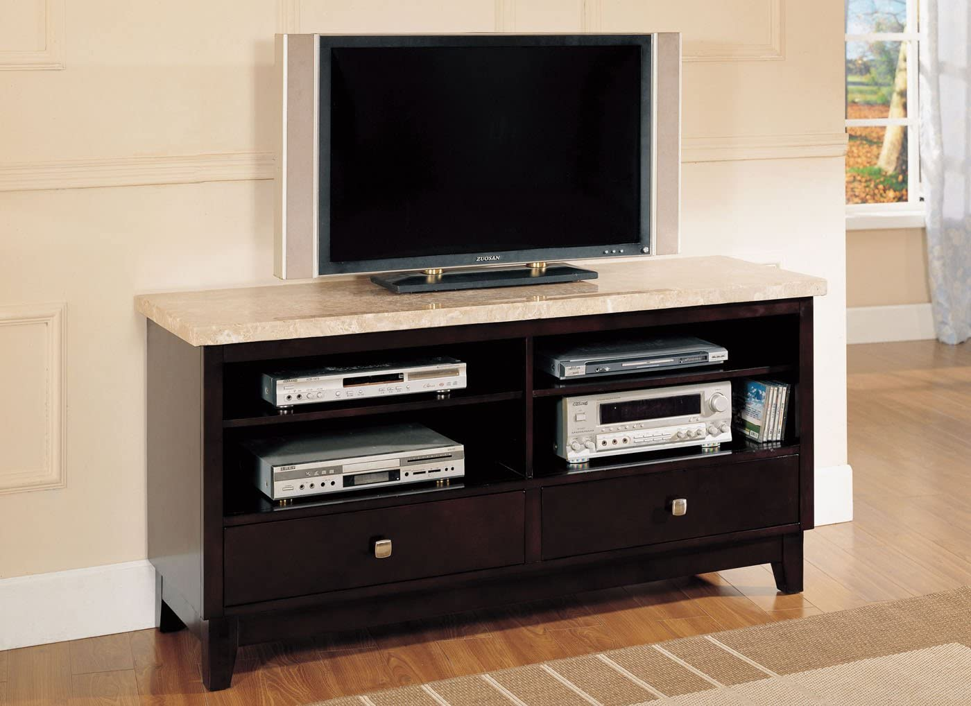 Acme Britney Marble Top Entertainment Console, White