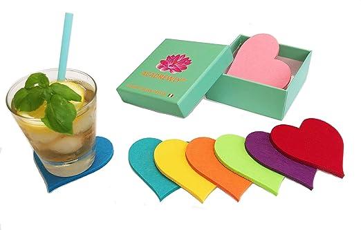Set 8 Posavasos Artísticos Corazón Fieltro Diseño Italiano Regalos Originales Elegantes Románticas Bodas Hotel Bar Restaurante Gafas de Cocina Tazas ...
