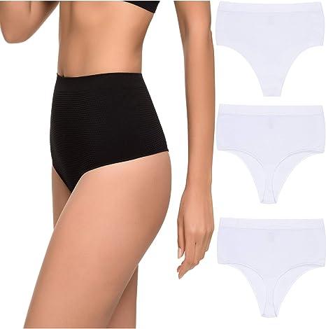 Pack de 3 Tanga Faja Reducción Ligera de Abdomen Mujer Sin Costuras Lycra. Braga Tanga Moldeador.: Amazon.es: Ropa y accesorios