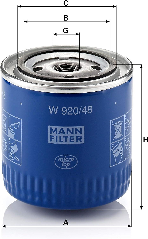 Original Mann Filter W 920 48 Schmierölwechselfilter Für Pkw Auto