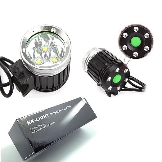 133 opinioni per KK-LIGHT- Faro CREE XML T6 3 LED per bicicletta, 4 modalità, 3600 Lumen +