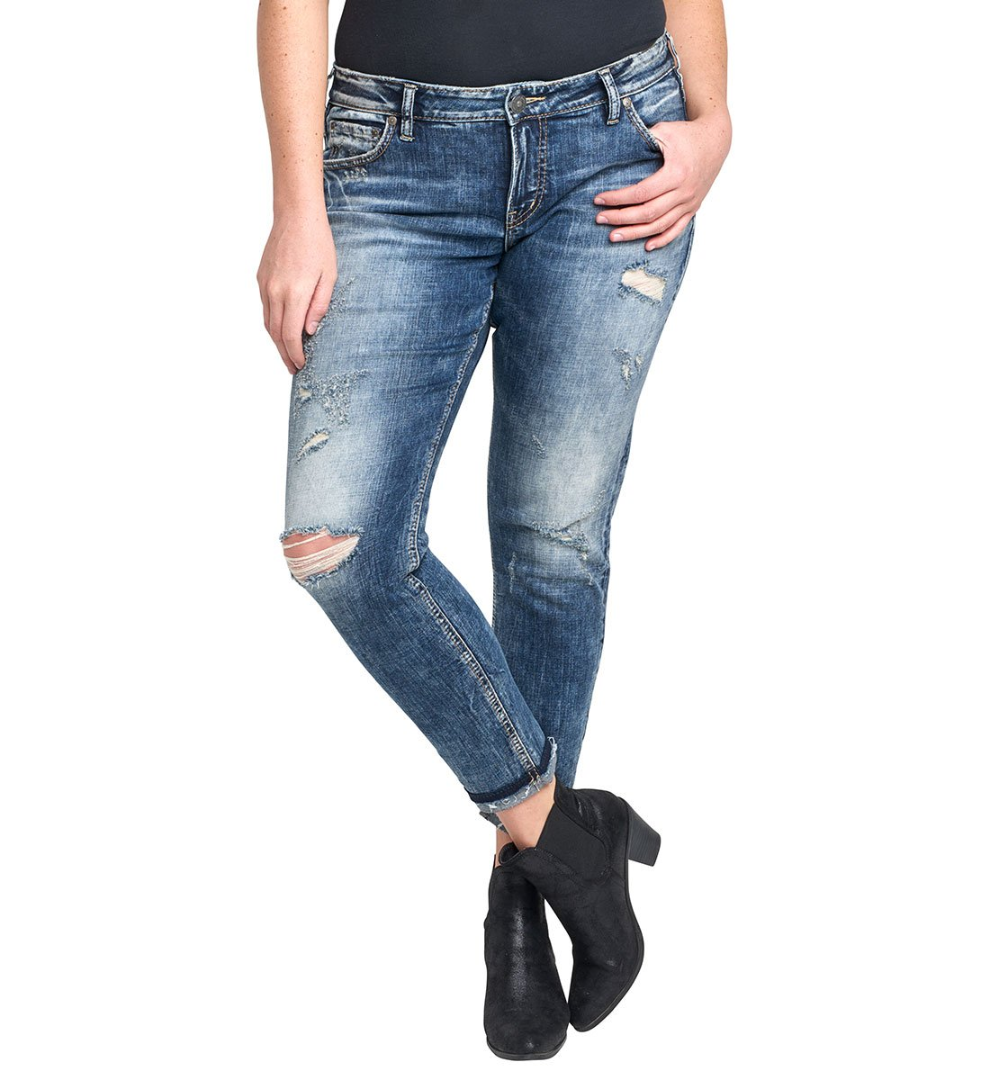 Silver Jeans Women's Plus Size Kenni Girlfriend-Fit Mid-Rise Skinny-Leg Jean, Medium Marble Distressed, 22