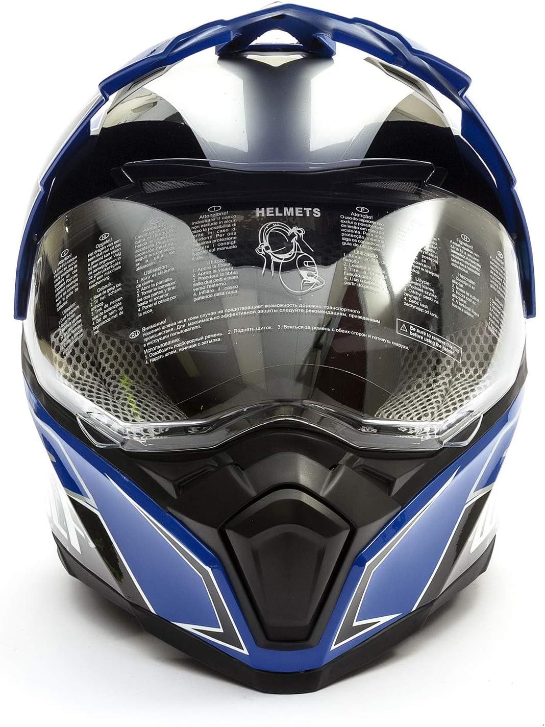Orange, Adult Large 59-60cm Wulfsport 2019 Prima-X Dual Sport Adventure Adult Helmet Road Legal Twin Visor