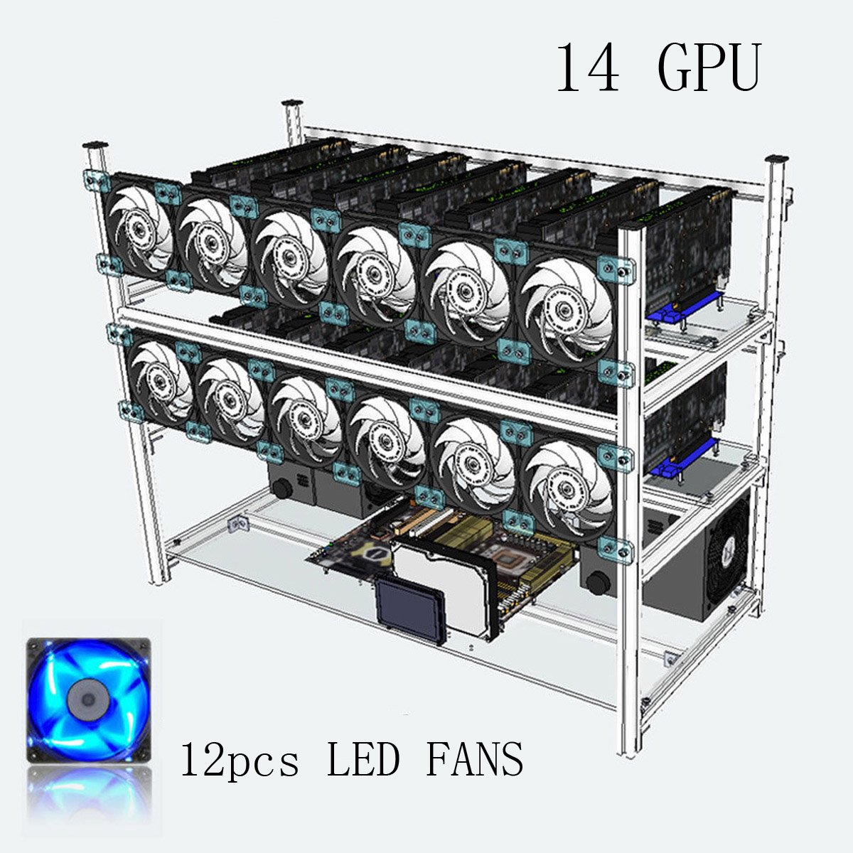 14/GPU casos de menor con 12/LED ventiladores marco apilable de aluminio de casos de plataforma abierta operativo Mini/ère para Eth//etc//zcash ethereum//Monero//BTC y altcoins dise/ño convecci/ón de aire Excellente negro Negro