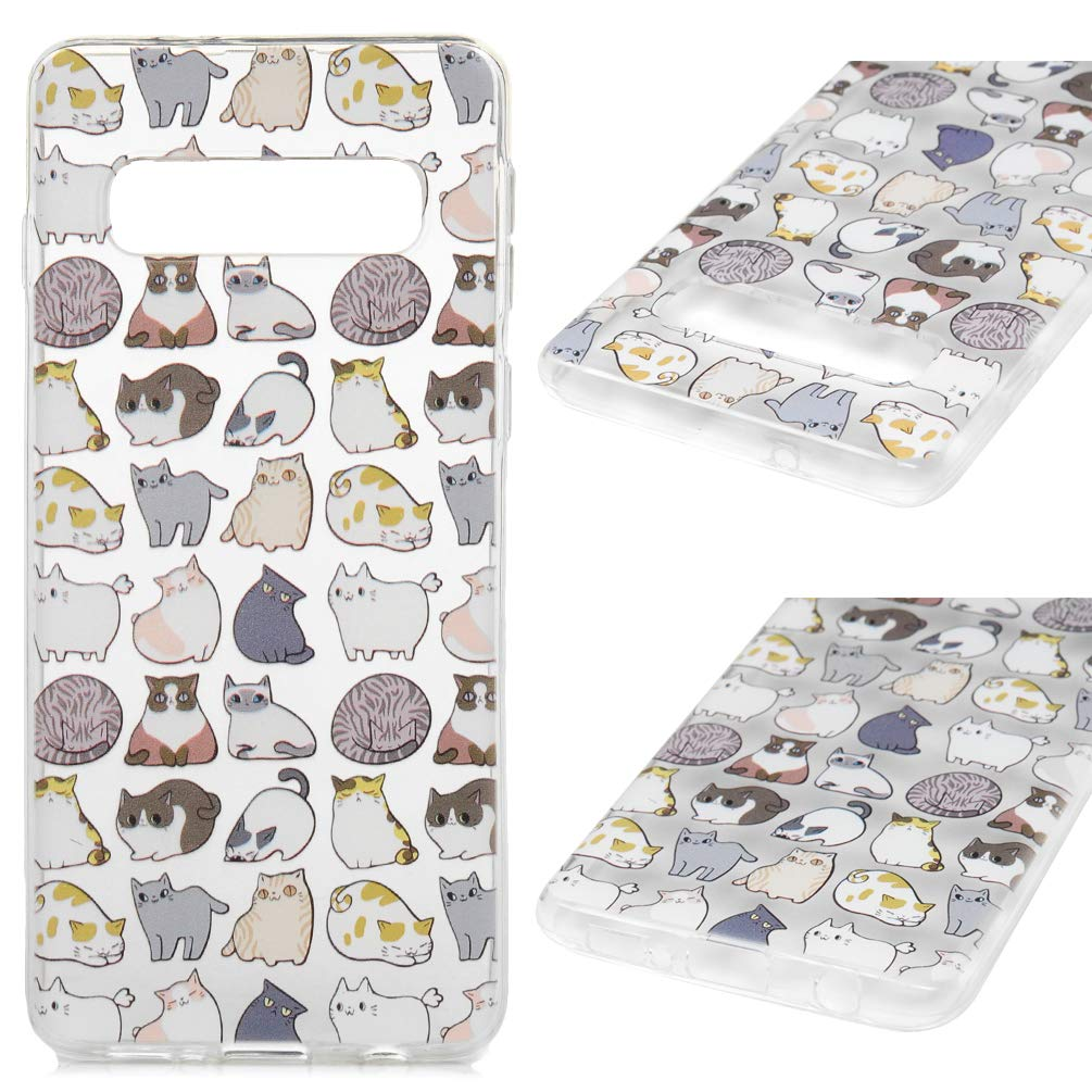 Galaxy S10 Case, Cover Soft TPU Bumper Shock-Absorbing Slim Protective Skin for Samsung Galaxy S10, Cut Cat