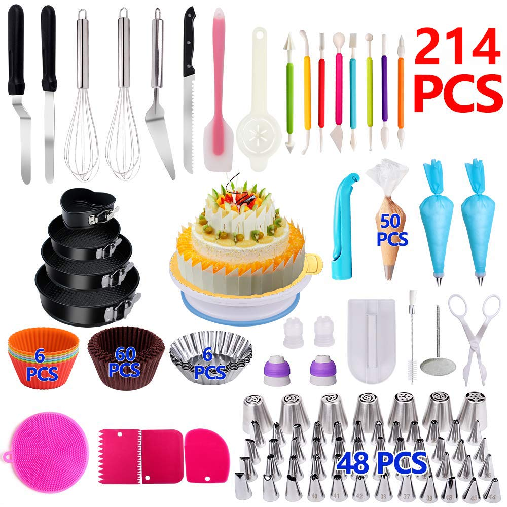 Cake Decorating Supplies,214 PCS Complete Baking Set with 4 Packs Springform Pan Sets,136 PCS Decorating Kits and 6 Muffin Cup Molds, Perfect Cake Baking Supplies for Beginners and Cake Lovers.