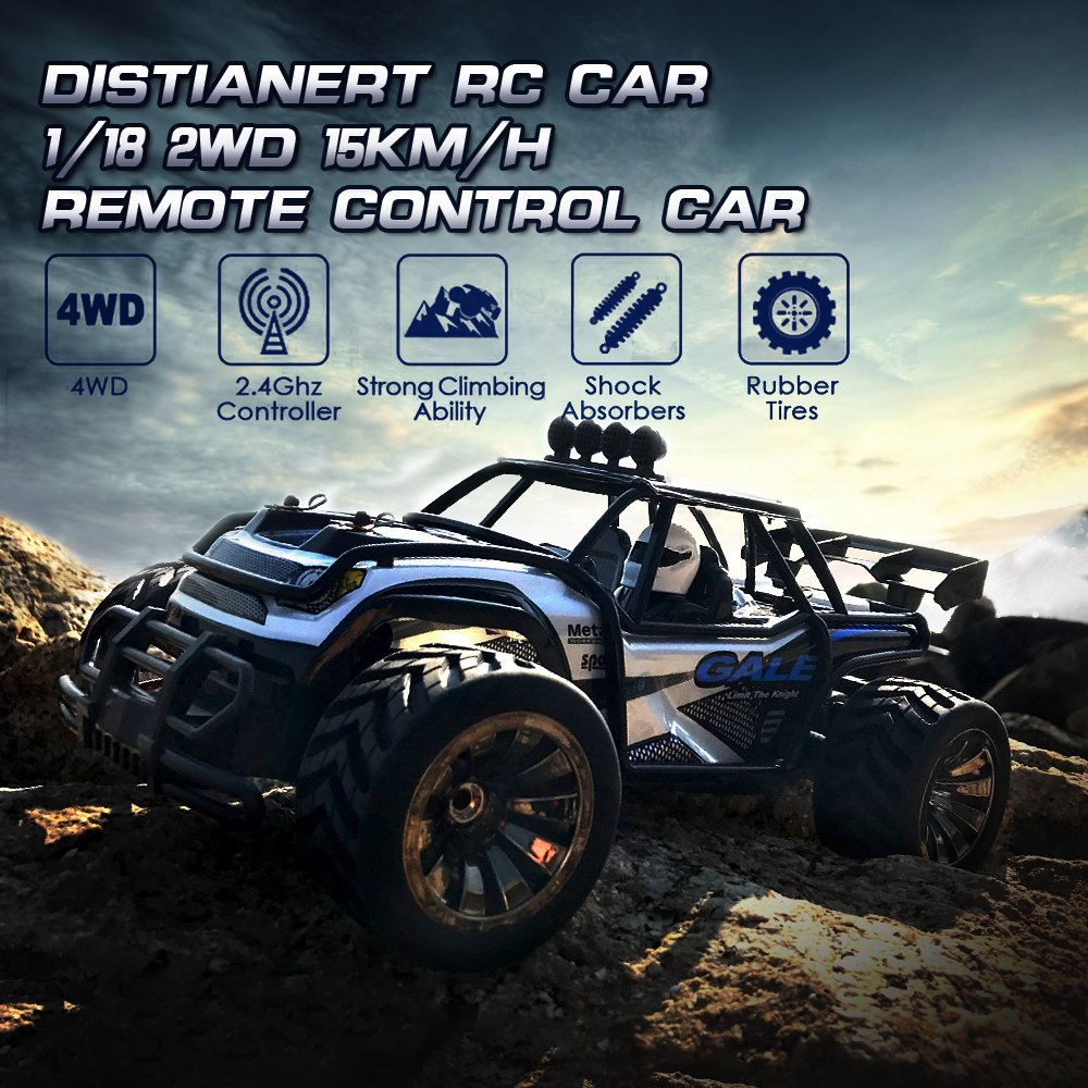 Distianert 1:16 Scale Electric RC Car Off Road Vehicle 2.4GHz Radio Remote Control Car 2W High Speed Racing Monster Truck by Distianert (Image #2)