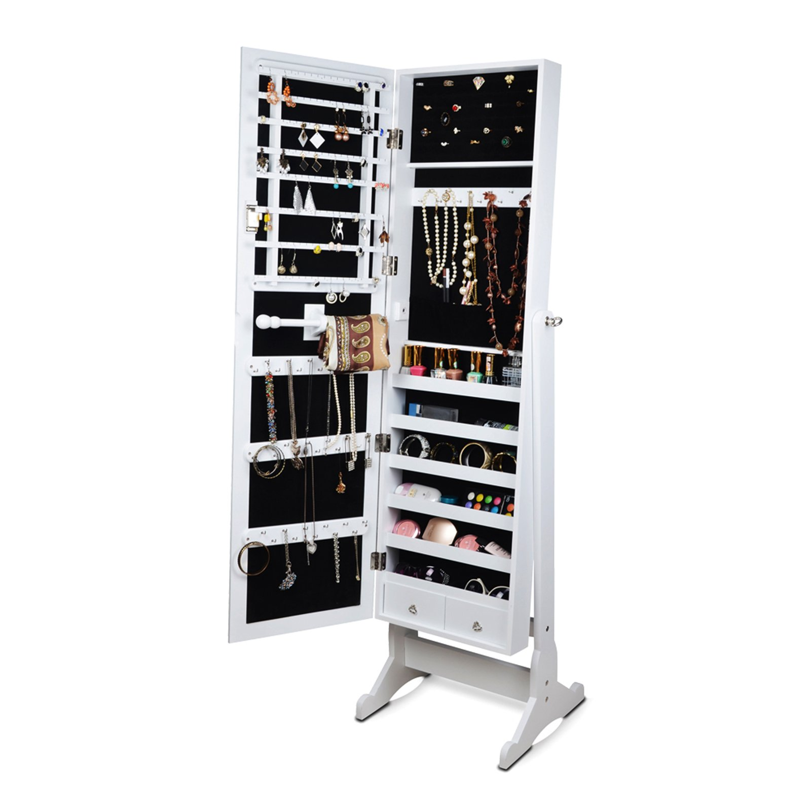 GLS White Floor Standing Cheval Mirror Jewelry Armoire Chest Wood
