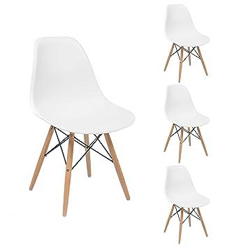 Homely - Juego de 4 Sillas de Comedor o Cocina MAX de diseño nórdico-Scandi, Inspiración Silla Tower - Blanco 01