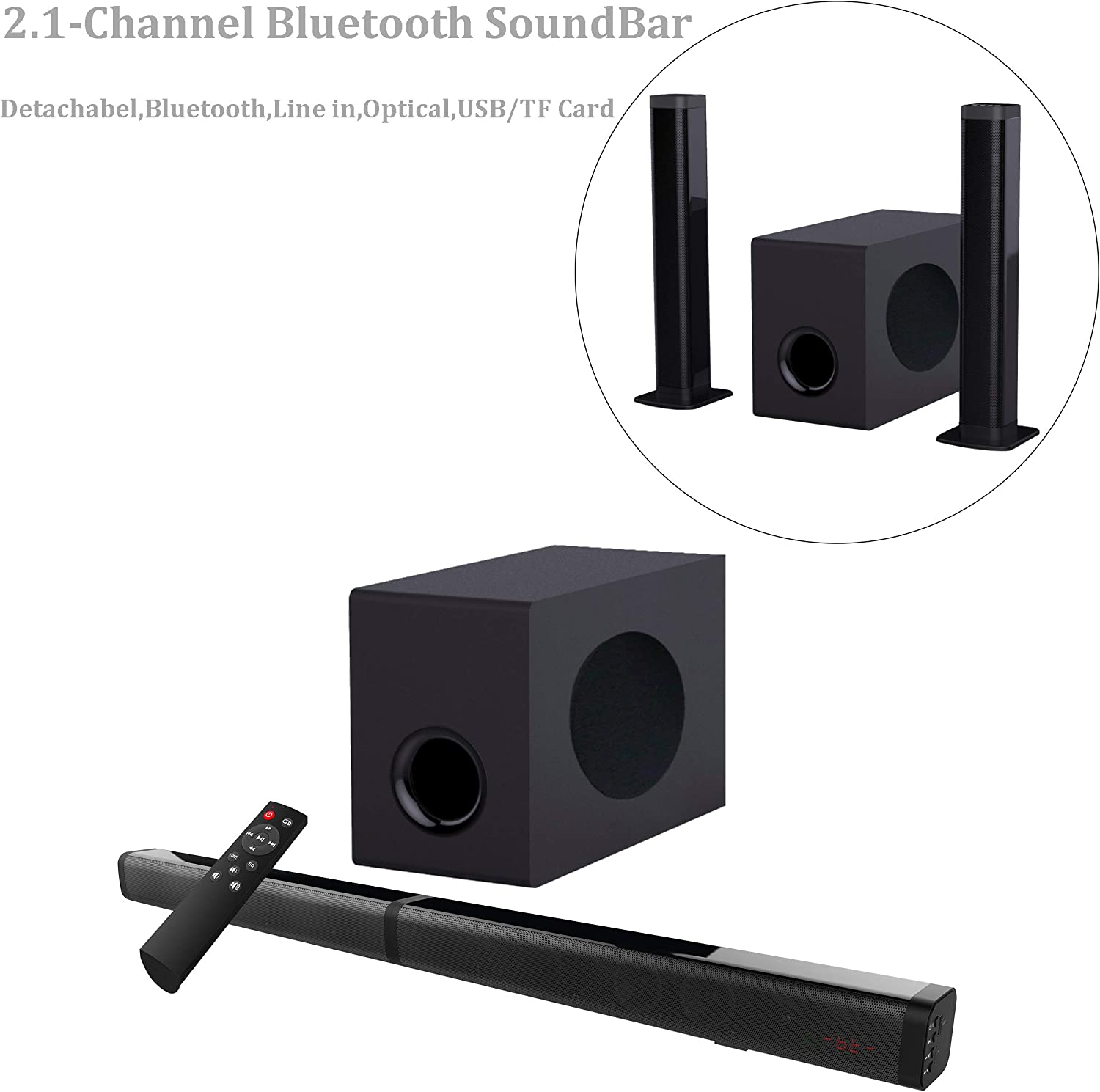 Sound Bar with Subwoofer, Samtronic Detachable Soundbar for TVS 37inch 80W 2.1 Channel Soundbar Speakers with Bluetooth V5.0 Sound Bars, Surround Sound Home Theater, Wall Mountable Remote Control