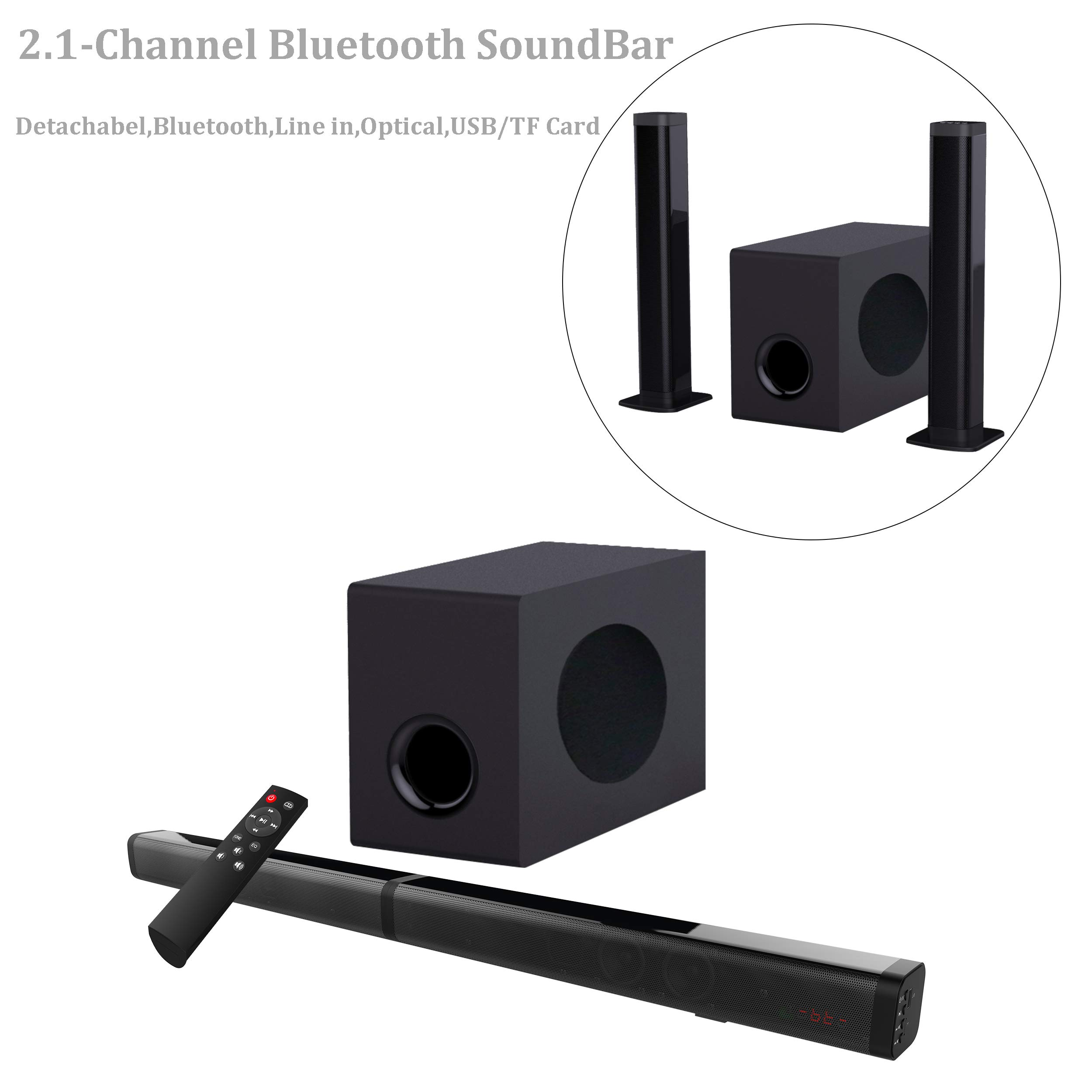 Sound Bar with Subwoofer, Samtronic Detachable Soundbar for TV 37 Inch 100W 2.1 Channel Speaker, Wireless & Wired Bluetooth 4.2 Sound Bars, Home Theater Surround Sound, Remote Control, Wall Mountable