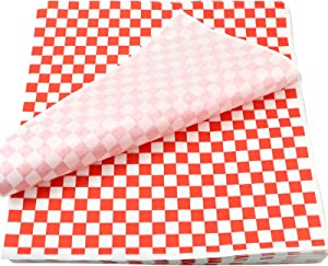 Oomcu 200 Sheets Red and White Checkered Dry Waxed Deli Paper Sheets, Paper Liners for Plastic Food Basket, Special for Wrapping Bread and Sandwiches(11.5''x11.5'')