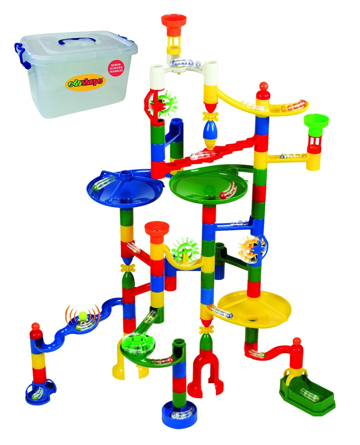 Marbulous Modular Marble Run w/82 Pieces Plus 50 Marbles Total of 132 Pieces - Made of Quality Child-Safe Plastic in Reusable Plastic Bucket by Edushape