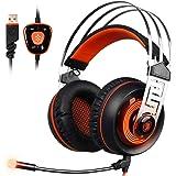 Sades A7 Son Surround Virtuel 7.1 Casque Gamer Avec micro Basse Stéréo LED Lumière Contrôle du Volume USB casque de jeux Pour PC (Noir+Orange, Vibration)