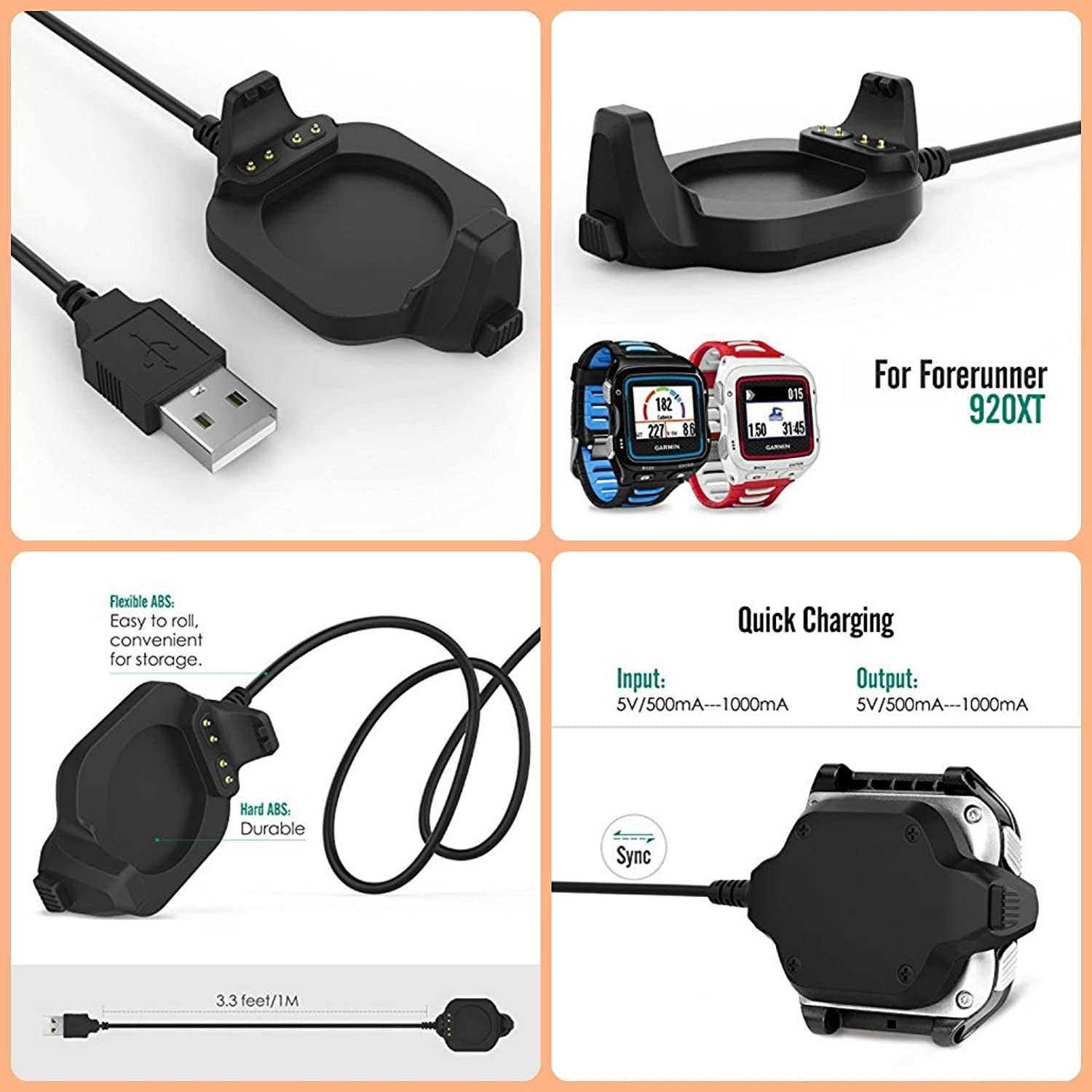 Black Charger Dock Compatible for Garmin Forerunner 920XT BESTeck USB Data Sync Charge Cradle Dock Charger with 1M Charging Cable for Garmin Forerunner 920XT Smart Watch