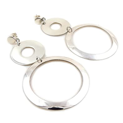 Solid 925 Sterling Silver Large Lightweight Flat Hoop Earrings Gift Boxed psTK329Xkh