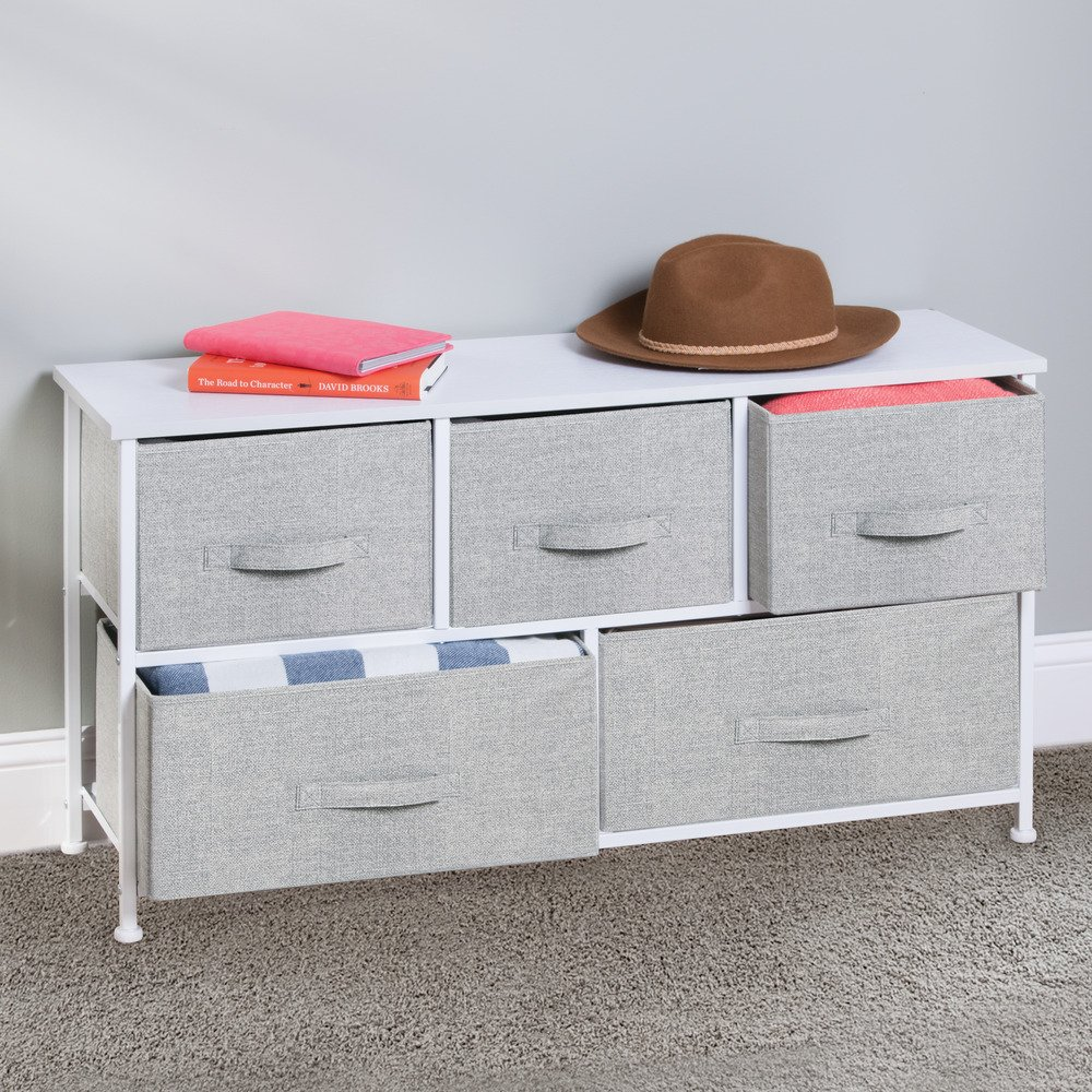 InterDesign Aldo Fabric 5-Drawer Dresser and Storage Organizer Unit for Bedroom, Apartment, Small Living Spaces – Gray by InterDesign (Image #4)
