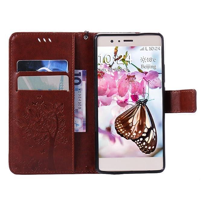 Huawei P9 Lite Funda Piel, Huawei P9 Lite Carcasa Marrón, Moon mood Magnet Flip Cover Funda Libro con Tapas Funda Cartera para Móvil Estuche Caja del ...