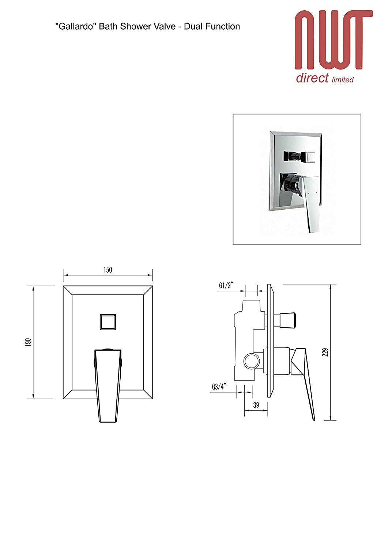 Gallardo Single Lever Manual Shower Valve with Built in Diverter