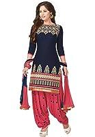 Jashvi Creation Women's Printed Unstitched Regular Wear Dress Material (JC_DM_Blue)